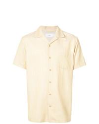 Chemise à manches courtes à rayures verticales jaune Onia