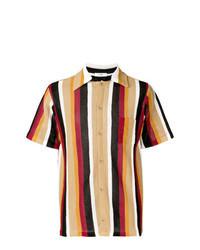 Chemise à manches courtes à rayures verticales marron clair