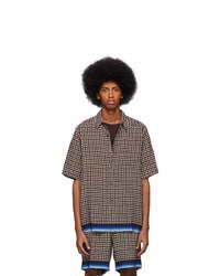 Chemise à manches courtes à rayures verticales marron foncé