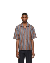 Chemise à manches courtes à rayures verticales marron