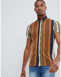 Chemise à manches courtes à rayures verticales multicolore