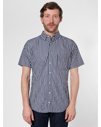 Chemise à manches courtes à rayures verticales noire et blanche