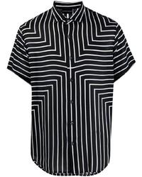 Chemise à manches courtes à rayures verticales noire et blanche Emporio Armani