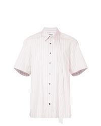 Chemise à manches courtes à rayures verticales rose