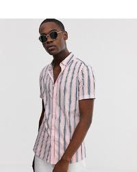 Chemise à manches courtes à rayures verticales rose ASOS DESIGN