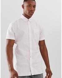 Chemise à manches courtes à rayures verticales rose Jack & Jones