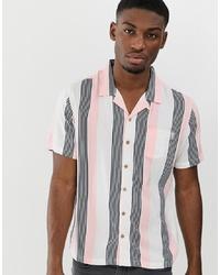 Chemise à manches courtes à rayures verticales rose Soul Star