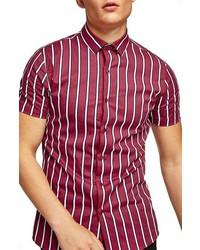 Chemise à manches courtes à rayures verticales rouge