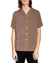 Chemise à manches courtes à rayures verticales tabac