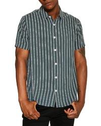 Chemise à manches courtes à rayures verticales vert foncé