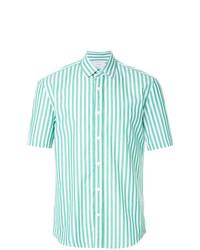 Chemise à manches courtes à rayures verticales vert menthe
