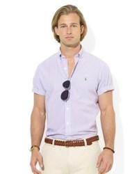 Chemise à manches courtes à rayures verticales violet clair
