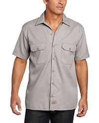 Chemise à manches courtes argentée