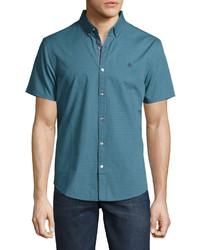 Chemise à manches courtes bleu canard