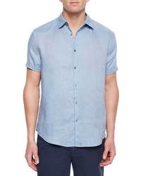 Chemise à manches courtes bleu clair