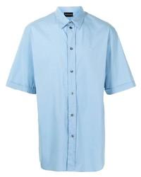 Chemise à manches courtes bleu clair Emporio Armani