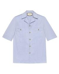 Chemise à manches courtes bleu clair Gucci