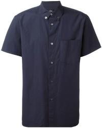 Chemise à manches courtes bleu marine A.P.C.