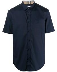 Chemise à manches courtes bleu marine Burberry