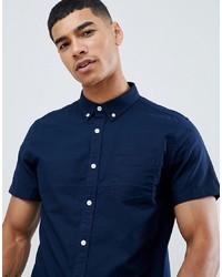 Chemise à manches courtes bleu marine Burton Menswear