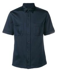 Chemise à manches courtes bleu marine Emporio Armani