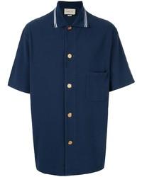 Chemise à manches courtes bleu marine Gucci