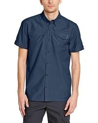 Chemise à manches courtes bleue marine EIDER