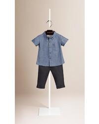 Chemise à manches courtes bleue