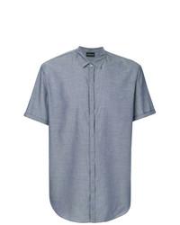 Chemise à manches courtes bleue Emporio Armani