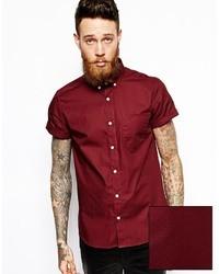 Chemise à manches courtes bordeaux