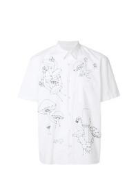 Chemise à manches courtes brodée blanche
