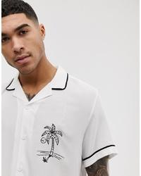 Chemise à manches courtes brodée blanche ASOS DESIGN