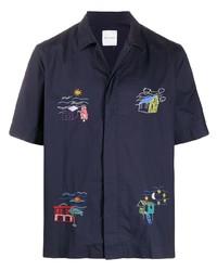 Chemise à manches courtes brodée bleu marine Paul Smith