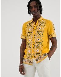 Chemise à manches courtes brodée jaune ASOS DESIGN