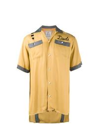 Chemise à manches courtes brodée jaune Maison Mihara Yasuhiro