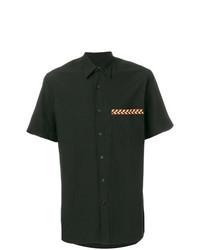 Chemise à manches courtes brodée noire