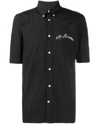 Chemise à manches courtes brodée noire Alexander McQueen