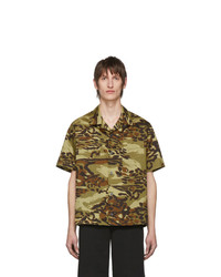 Chemise à manches courtes camouflage olive Givenchy