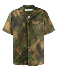 Chemise à manches courtes camouflage olive Off-White