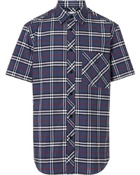 Chemise à manches courtes écossaise blanc et rouge et bleu marine Burberry