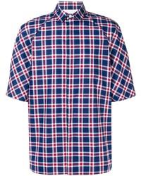 Chemise à manches courtes écossaise blanc et rouge et bleu marine Societe Anonyme
