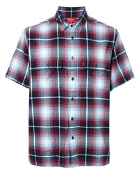 Chemise à manches courtes écossaise blanc et rouge et bleu marine Supreme