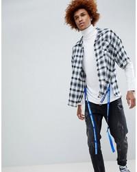 Chemise à manches courtes écossaise blanche et noire D-Antidote