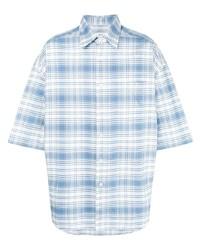 Chemise à manches courtes écossaise bleu clair Ami Paris