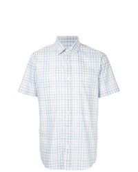 Chemise à manches courtes écossaise bleu clair Gieves & Hawkes