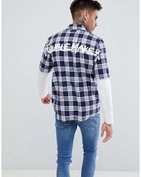 Chemise à manches courtes écossaise bleu marine Just Junkies