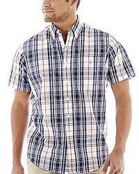 Chemise à manches courtes écossaise bleue marine