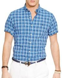 Chemise à manches courtes écossaise bleue