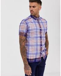 Chemise à manches courtes écossaise bleue ASOS DESIGN