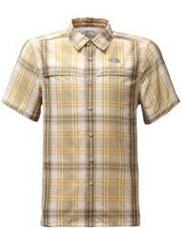 Chemise à manches courtes écossaise marron clair